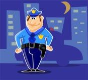 Polizia del carattere nella città di notte Fotografie Stock Libere da Diritti
