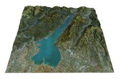 Polizia del lago, vista aerea, mappa, Lombardia Veneto Italia Immagini Stock