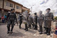 polizia di tumulto nell'Ecuador Immagini Stock