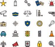 Polizia ed icone di applicazione di legge royalty illustrazione gratis
