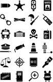 Polizia ed icone di legge Fotografie Stock Libere da Diritti