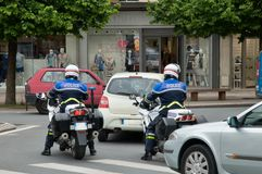 Polizia francese sui motocicli Fotografia Stock