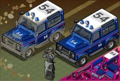 Polizia isometrica fuori dal veicolo stradale in Front View Fotografie Stock