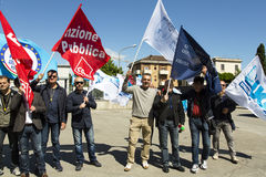 Polizia italiana Demostration del penitenziario Fotografia Stock Libera da Diritti