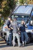 Polizia italiana per le dimostrazioni e gli eventi Autoblindata fotografia stock