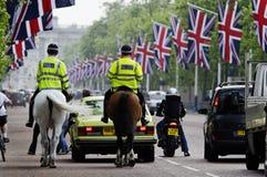 Polizia montata sul viale, Londra Fotografie Stock