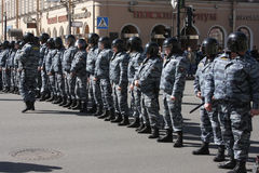 Polizia russa, squadra speciale (OMON) Immagini Stock
