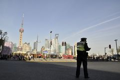 Poliziotti a Shanghai fotografia stock