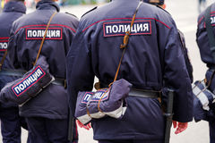 Poliziotti in uniforme, retrovisione Immagine Stock Libera da Diritti