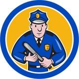 Poliziotto con il cerchio del bastone del bastone di notte Fotografia Stock