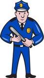 Poliziotto con la condizione del bastone del bastone di notte Immagine Stock