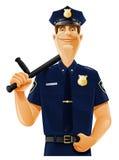 Poliziotto con la mazza ferrata Fotografia Stock Libera da Diritti