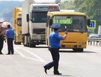Poliziotto sulla strada Fotografia Stock