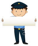 Polizist, der leeres Papier hält Lizenzfreies Stockbild
