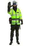 Polizist in der Schutzausrüstung - Anschlag Lizenzfreie Stockfotos
