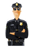Polizist in der Uniform und in den Schutzbrillen stock abbildung