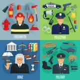Polizist, Feuerwehrmann, Militär, Richterikonensatz lizenzfreie abbildung