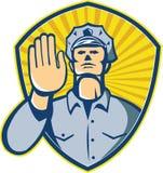 Polizist-Polizeibeamte Hand Stopp Shield Lizenzfreies Stockbild