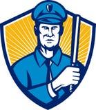 Polizist-Polizeibeamte-Taktstock-Schild Retro- Lizenzfreies Stockfoto