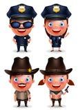 Polizist-, Polizeibeamtin-, Sheriff- und Cowgirlvektorcharaktere eingestellt Stockbild