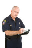 Polizist - Schreibens-Zitieren Stockfoto