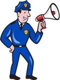 Polizist-schreiende Megaphon lokalisierte Karikatur Stockbild