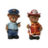 Polizist-und Feuerwehrmann-Bären Lizenzfreie Stockfotografie