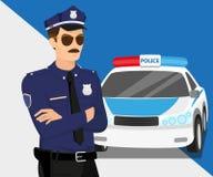 Polizist und Polizeiwagen Stockfotos