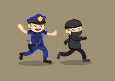 Polizist-Verfolgungs-Dieb Vector Cartoon Illustration Stockfoto