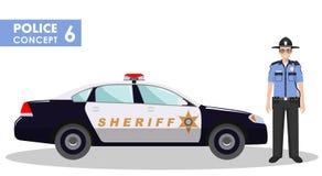 Polizistkonzept Ausführliche Illustration des Sheriffs und des Polizeiwagens in der flachen Art auf weißem Hintergrund Vektor Stockfotos