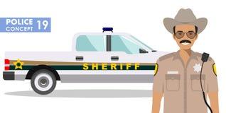Polizistkonzept Ausführliche Illustration des Sheriffs und des Polizeiwagens in der flachen Art auf weißem Hintergrund Vektor Lizenzfreie Stockbilder
