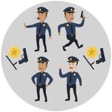 Polizistkonzeptsatz Karikaturillustration der Vektorillustration mit 4 Polizisten Stockbilder