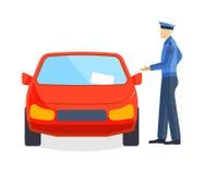 Polizistschreibensstrafzettelfahrerparkwächterpolizeihelferauto-Konzeptvektor Stockfotos