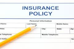 Polizza d'assicurazione Fotografia Stock