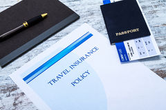 Polizza d'assicurazione di viaggio Immagini Stock Libere da Diritti
