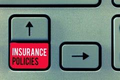 Polizze d'assicurazione di scrittura del testo della scrittura Il significato di concetto ha documentato il risarcimento finanzia immagini stock libere da diritti
