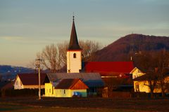 Polju van Miklavž Na Dravskem, Slovenië Stock Foto