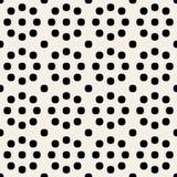 Polka arrotondata geometrica in bianco e nero senza cuciture Dots Pattern dei cerchi di vettore retro Fotografie Stock Libere da Diritti
