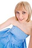 polka bleue de fille de robe de point images stock