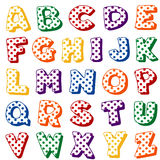 Polka Dot Alphabet. Original alphabet design with red, blue, green, gold, orange and purple polka dots on a white background for albums, scrapbooks, crafts and vector illustration