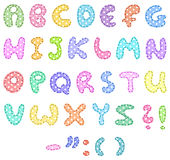 Polka dot alphabet with stitches Stock Image