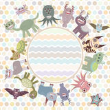 Polka dot background, card for your text in circle. Funny cute dinosaur monsters on dot background. Vector Royalty Free Stock Photos