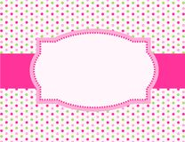 Polka dot background frame. Cute polka dots design with pink ribbon and doodle frame / border