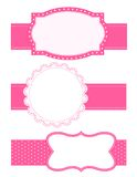 Polka dot background frame. Cute polka dots frames / border s with pink ribbons doodle frame / border collection