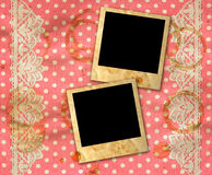 Polka dot background with lace border. Two old photo frames over dirty pink white polka dot background with lace border stock images