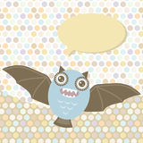 Polka dot background, pattern. Funny cute bat Stock Photography