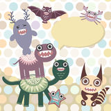 Polka dot background, pattern. Funny cute dinosaur monsters on dot background. Vector. Illustration Stock Images