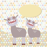 Polka dot background, pattern. Funny cute dinosaur Royalty Free Stock Images