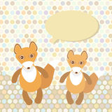 Polka dot background, pattern. Funny cute fox on dot background. Vector Stock Image