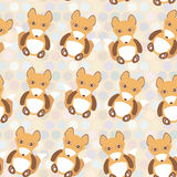 Polka dot background, pattern. Funny cute fox on dot background. Vector Stock Photo